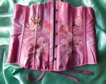 Custom Design Cherry Blossom Under Bust Corset Textile Art One of a Kind Uk Size 12