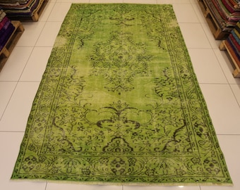 Green overdyed rug Side Bed Green Carpet92 Etsy Green Overdyed Rug Etsy