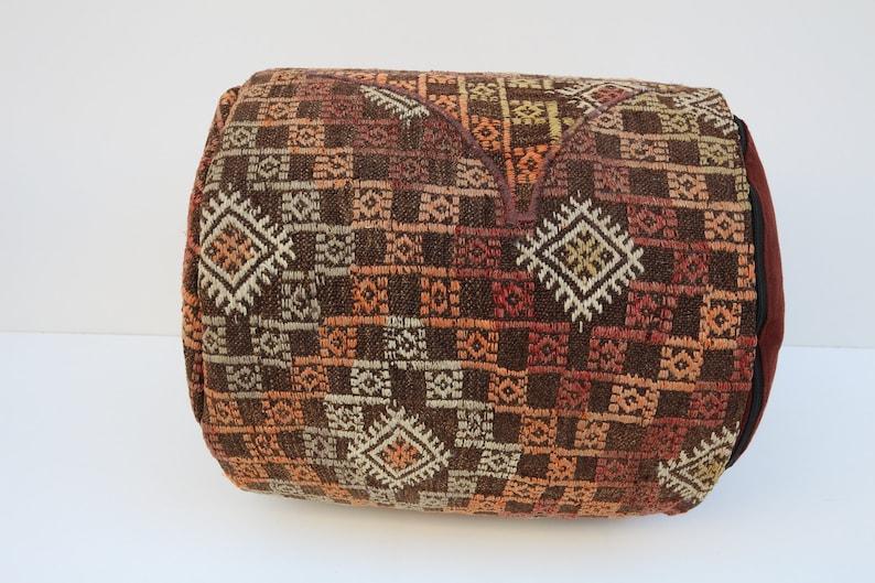 Embroidery pouf Handmade rug pouf Nomadic rug pouf Kilim rug pouf Vintage rug pouf pouf Decorative poufs Kids poufs Floor rug pouf