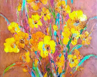 Oil painting Yellow Daffodils - Original painting Spring flowers picture Canvas paiting - Still life painting Daffodils wall art Bouquet