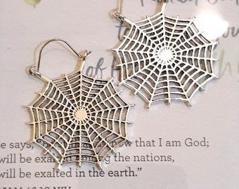 Spider web earrings, Silver spider web jewelry, Fun earrings, Unique earrings, Earrings for him and her, Birthday gifts, Unique gifts