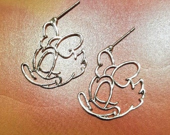 Disney inspired Daisy Duck Charm Cartoon Character Metal Drop Dangle Hook Pierced Earrings With Gift Box