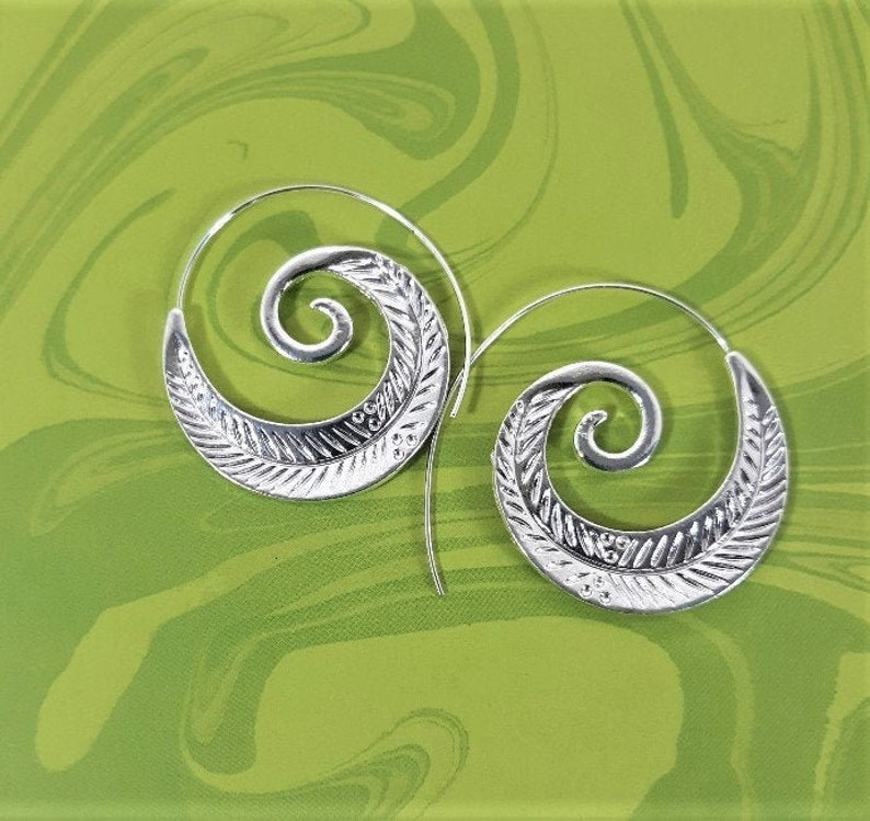 Silver spiral feather design earrings Spiral earrings Silver round earrings Spiral earrings Unique jewelry Birthday gifts