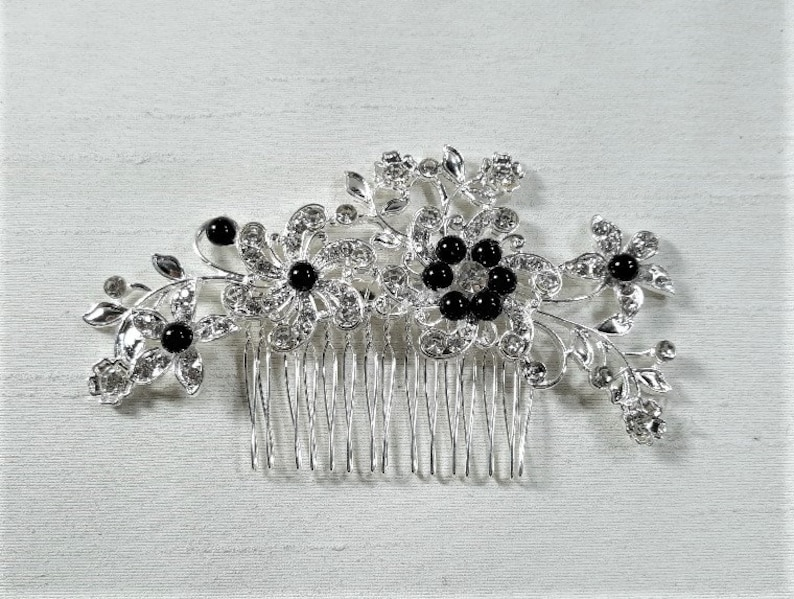 rhinestone hairpiece bridal hairpiece combs hair accessories wedding jewelry black and silver hair comb Rhinestone romantic hairpiece