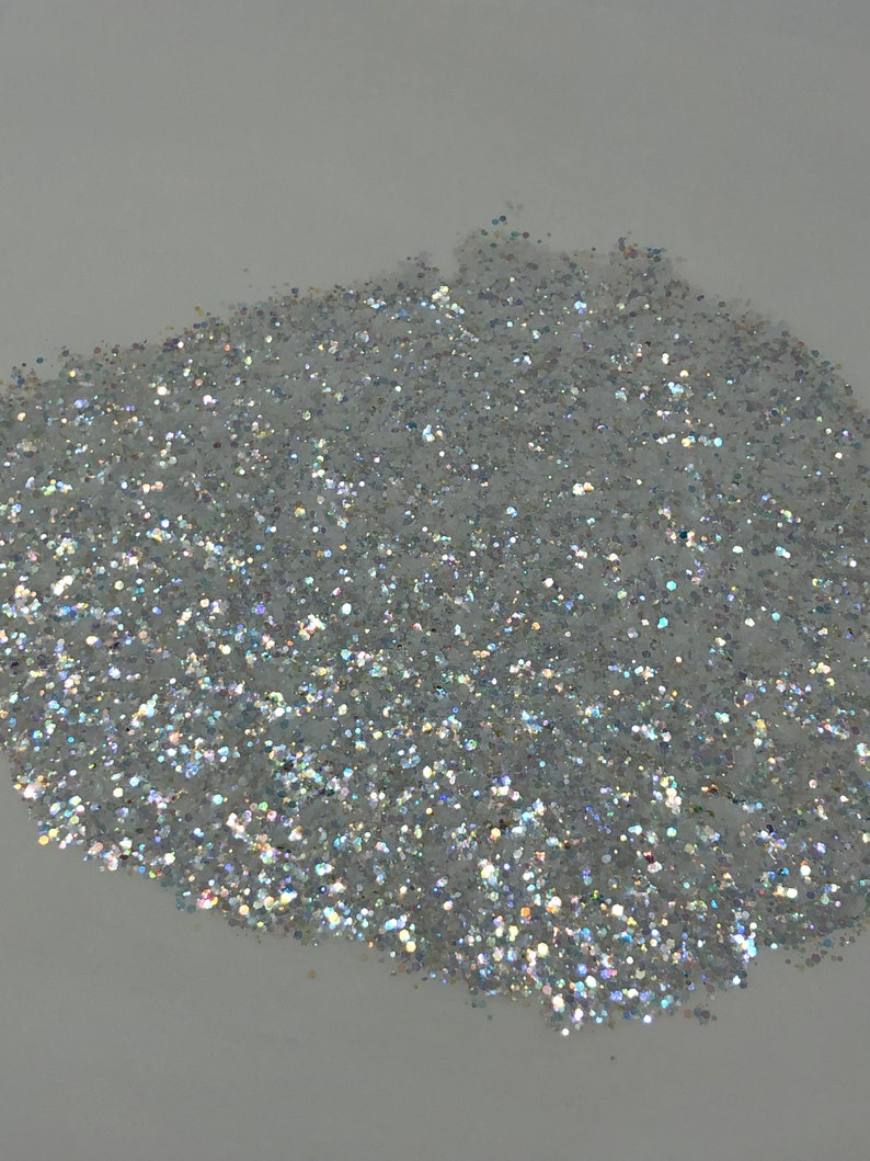 Chunky Mix 2 oz Polyester Serenity White Iridescent Glitter Opal