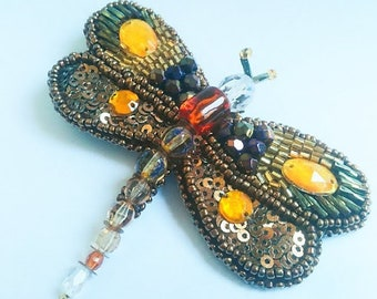 Dragonfly brooch, Dragonfly pin, Beaded dragonfly brooch, insect brooch, jewelry design, embroidery, bead brooch, bead brooches, fly brooch