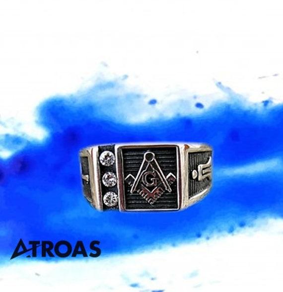 Mason Ring, Silver Masonic Ring, Master Mason Jewe