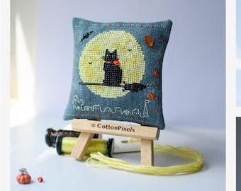 Halloween Night Flight Cat Decoration Cross Stitch and Beads Pattern (PDF)