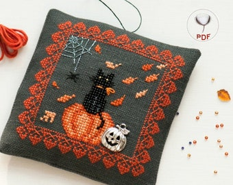 Autumn Halloween Cat Decoration Cross Stitch and Beads Pattern (PDF)