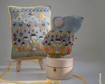 2-in-1 Mouse Sampler Pincushion and Toy Cross Stitch Pattern (PDF)