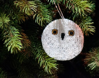 Snowy Owl Christmas Tree Decoration Cross Stitch and Blackwork Pattern (PDF)