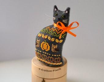 Autumn Cat 3D Halloween Decoration Cross Stitch Pattern (PDF)