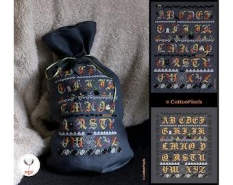 Halloween Alphabet Sampler Cross Stitch Pattern (PDF)