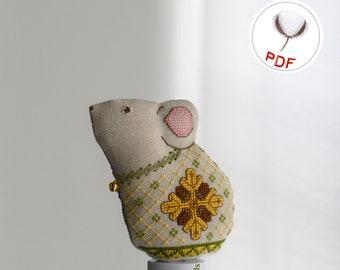 Acorn Mouse 3D Toy Cross Stitch Pattern (PDF)