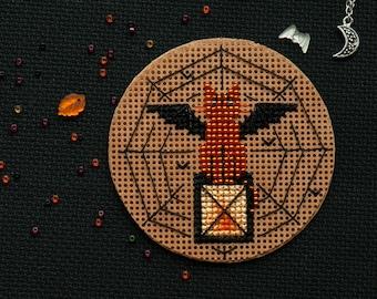 Halloween BatCat Decoration Cross Stitch and Beads Pattern (PDF)