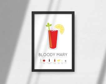 Bloody Mary Print Favourite Drink Poster Alcohol Gift Kitchen Wall Art Art Décor