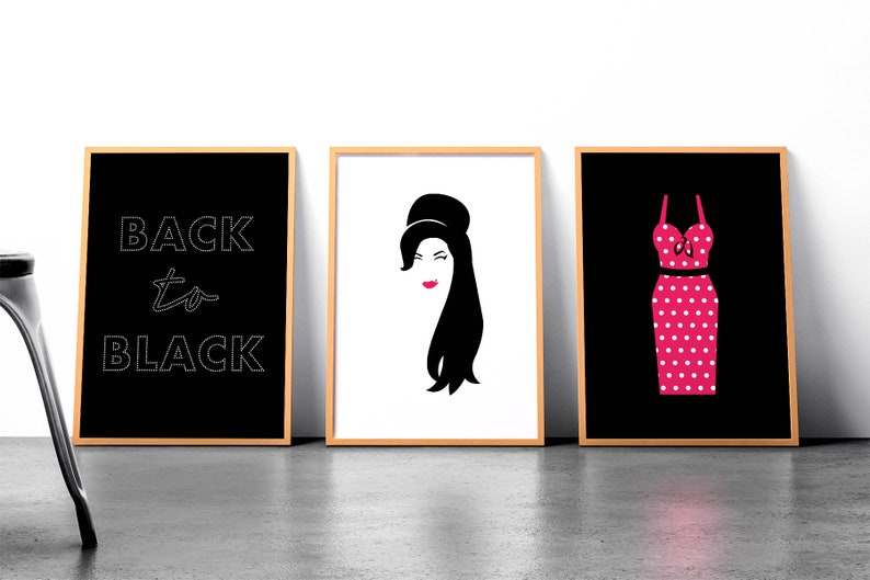Amy Winehouse inspired DIGITAL DOWNLOAD  Set of 3  Printable image 0
