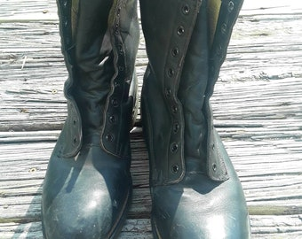 Vintage 90s steel toe boots, black leather boots, army boots, size 8 steel toe