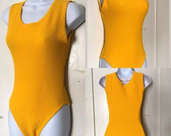 Colorful 80s onepiece, vintage 80s bathing suit, 80s body suit, yellow body suit