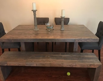 Butcher block waterfall table and bench
