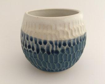 Blue and white honeycomb ceramic tumbler (#3)