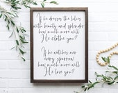 Christian Farmhouse Christian Wall Sign Jireh Sign If He Dresses The Lilies