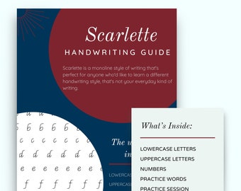 SCARLETTE Handwriting Practice sheets,  Lowercase, Uppercase and Number guides