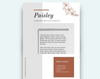 80 pages PAISLEY Cursive Worksheets. Uppercase, Lowercase, All Letter connections, Practice words and phrases