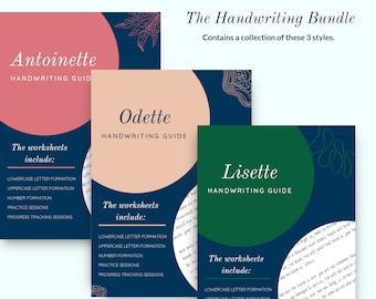 HANDWRITING PRACTICE BUNDLE, 3 Handwriting Styles, Uppercase and Lowercase letters
