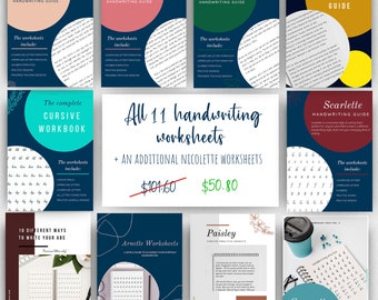 All handwriting worksheets in this shop plus an additional Nicolette worksheets
