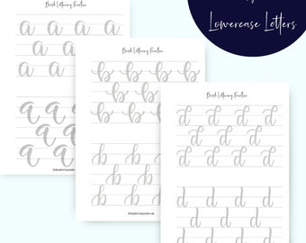 Brush Lettering Worksheets, Lowercase and Uppercase lettering Worksheets, Brush Calligraphy Printable