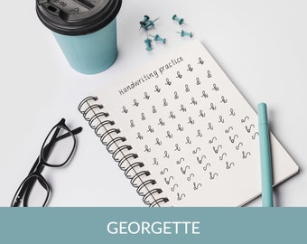 91 pages GEORGETTE Handwriting Worksheets, BULLET JOURNAL handwriting practice sheets, Instant download