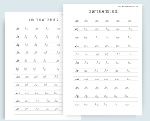 CURSIVE worksheets, Uppercase and Lowercase cursive letters