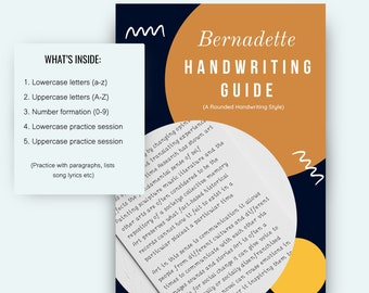 Bernadette handwriting worksheets, PRINTABLE Lowercase and Uppercase Practice Sheets, DIGITAL download