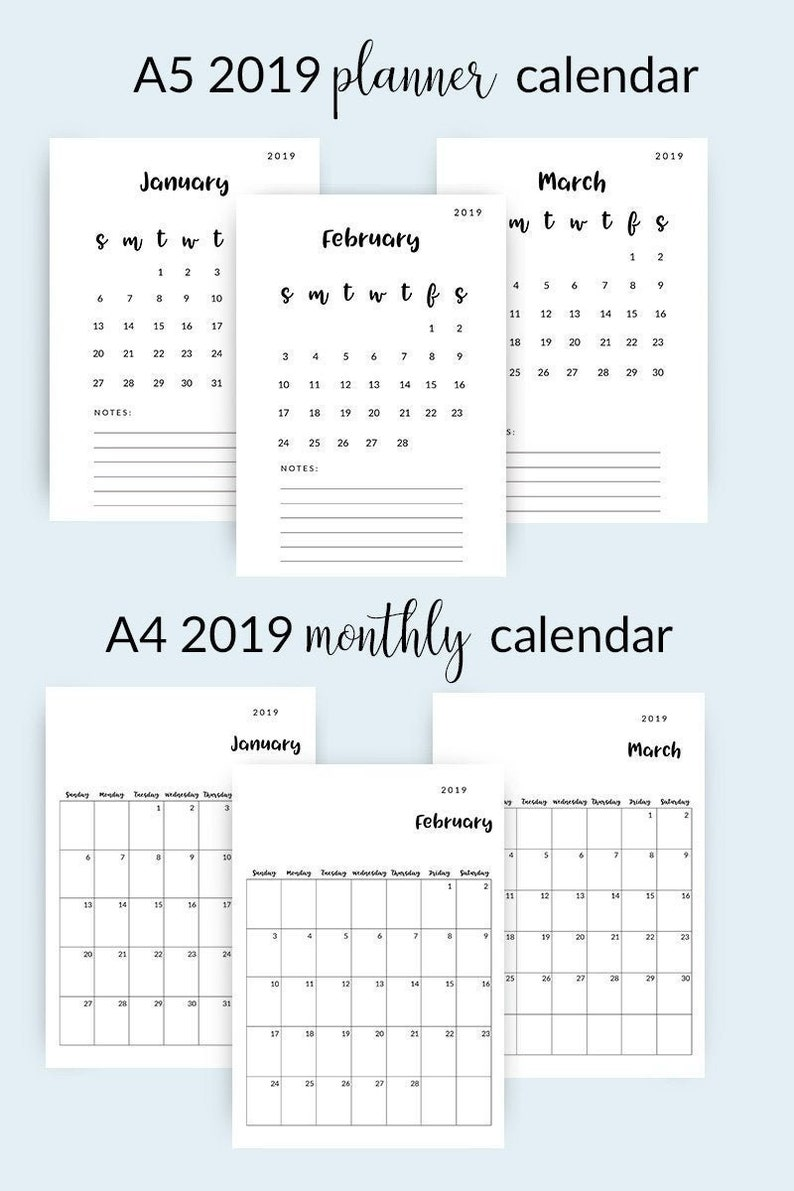image relating to Monthly Planning Calendar referred to as 2019 Printable Calendar Regular Calendar 2019 Minimalist Calendar 2019  Calendar Planner 2019