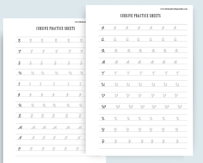 CURSIVE worksheets Uppercase and Lowercase cursive letters | Etsy