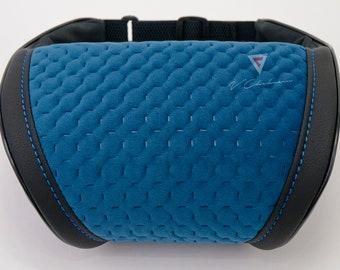Universal Headrest Pillow Car Neck Rest Cushion Blue Velour/Leather Pillow