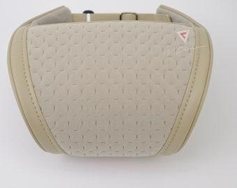 Universal Headrest Pillow Car Neck Rest Cushion Light Beige Velour/Leather Pillow