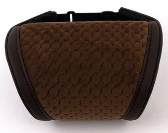 Universal Headrest Pillow Car Neck Rest Cushion Brown Velour/Leather Pillow