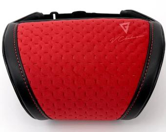 Universal Headrest Pillow Car Neck Rest Cushion Red Velour/Leather Pillow
