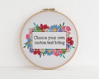 Custom cross stitch pattern 20 Choose your own words, sarcasm Lyrics funny cross stitch xstitch pattern