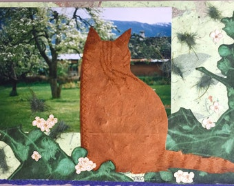 Handmade Greeting Card / Mixed Media Cat Collage / Unique OOAK Art