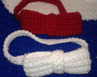 Bow tie, Crochet bow tie, party prop, bow ties are cool, slip on bow tie, red bow tie, white bow tie, dad gift, cosplay, selfie prop, favors