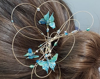 Origami Butterfly turquoise wave pin