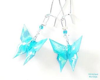 Origami Iridescent Blue Butterflies - Earrings