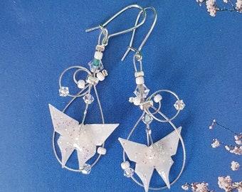 "Earrings Origami Glittery white butterflies ""Arabesques"""