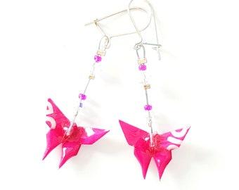Fuschia butterflies in origami - Earrings
