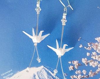 Glittery white wild cranes - Earrings