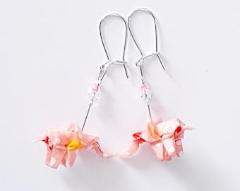 Pink elephants - Origami earrings