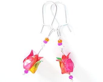 Lotus fuschia in origami - Earrings